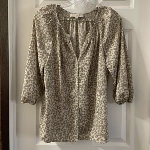Loft Beige/Cream Leopard Print Button Down Blouse